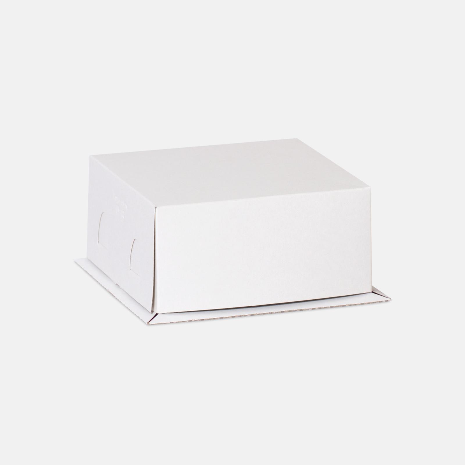 Коробка для торта 210*210*100 мм Хром-эрзац Белый №2