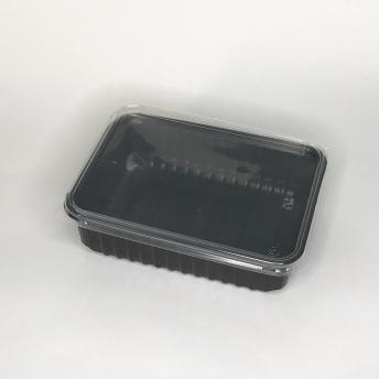 Контейнер односекционный черный прямойгольный с крышкой 750 мл 179*132*48 мм   № 10105021