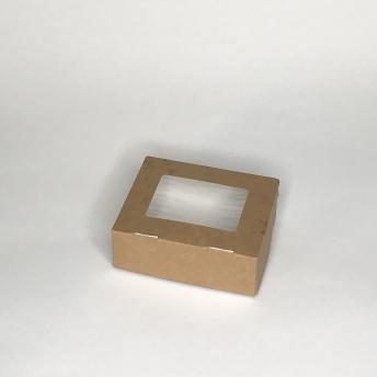 Коробка ланч-бокс для закусок и десертов с окном, крафт 100х80х35мм 100*80*35 мм   № 10105013