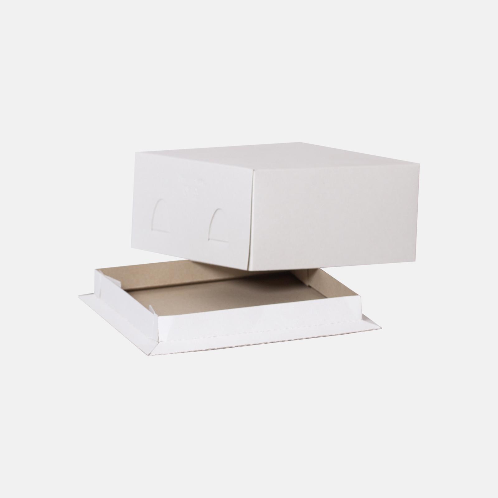 Коробка для торта 210*210*100 мм Хром-эрзац Белый
