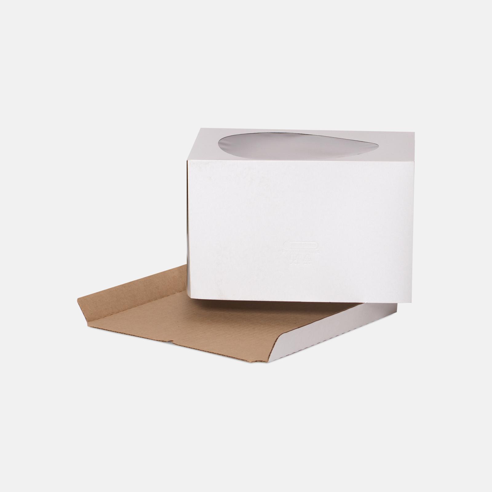 Коробка для торта 300*300*190 мм Хром-эрзац Белый